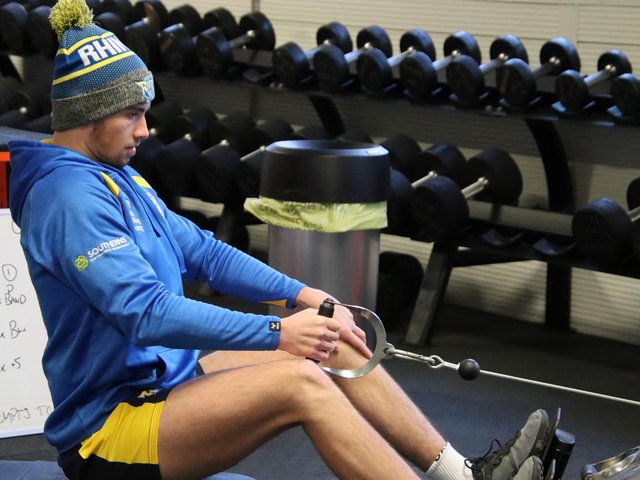 Jack Walker working in Rhinos' gym at Kirkstall before his new setback. Picture by Phil Daly/Leeds Rhinos.