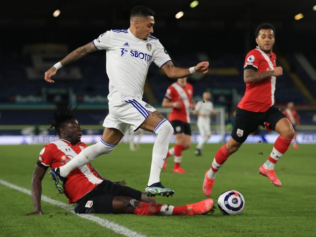 THRIVING: Leeds United winger Raphinha, in action during last month's 3-0 win at home to Southampton. Photo by Mike Egerton - Pool/Getty Images.