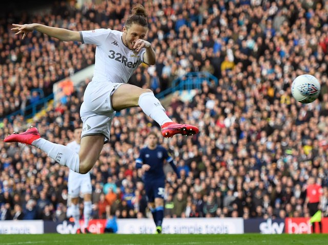 Leeds United defender Luke Ayling scores against Huddersfield Town. Pic: Getty