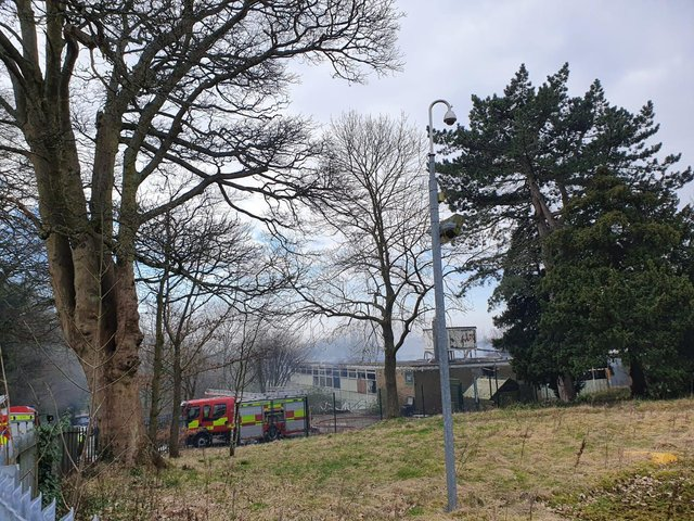 Smoke could be seen coming from the building on Sunday morning