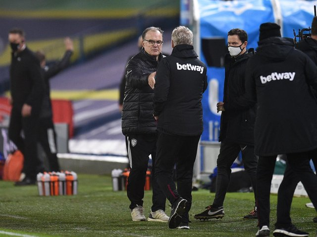 WE WILL MEET AGAIN: Leeds United head coach Marcelo Bielsa, left, and West Ham boss David Moyes, right, before December's Premier League clash at Elland Road. Photo by Oli Scarff - Pool/Getty Images.