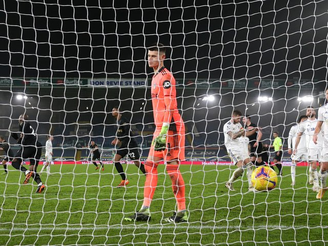 HAMMERS BLOW: 'Keper Illan Meslier is unable to prevent Angelo Ogbonna scoring what proved the winning goal in December's clash between Leeds United and West Ham at Elland Road. Photo by Jason Cairnduff - Pool/Getty Images.