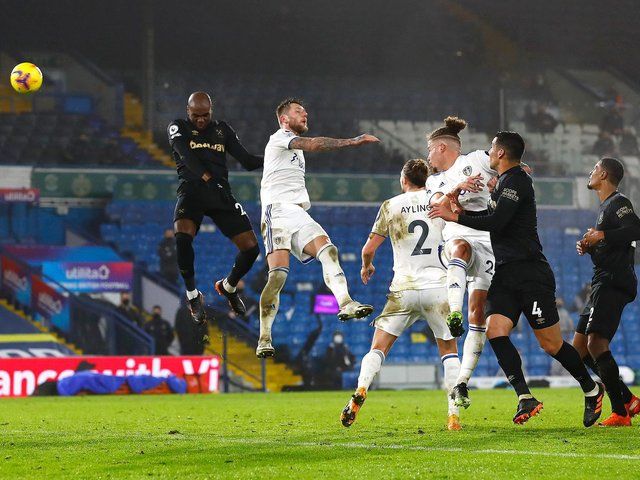 FLYING HIGH: Angelo Ogbonna heads home the winning goal in December's clash at Leeds United. Three months later, West Ham have prospects of sealing Champions League football. Photo by Jason Cairnduff - Pool/Getty Images.