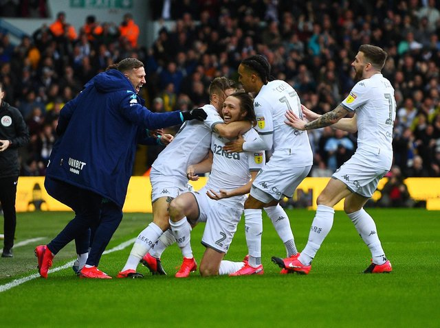 Leeds United celebrate Luke Ayling's goal against Huddersfield Town at Elland Road. Pic: Jonathan Gawthorpe