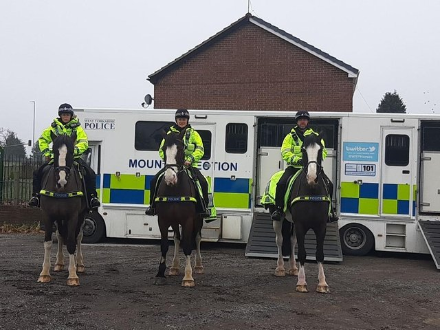 Team 3 Burmantofts and Richmond Hill NPT officers were assisted by West Yorkshire Police Mounted Section (Photo: WYP)