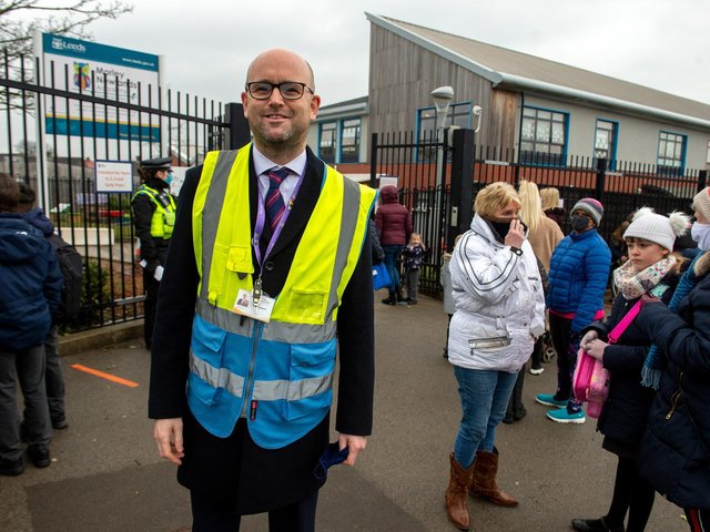Matthew Fitzpatrick, headteacher at Morley Newlands was on hand to greet pupils and parents as they come back to school.