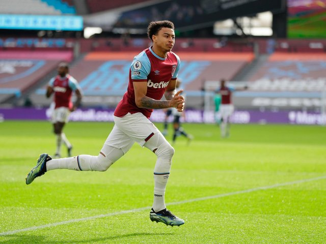 DANGEROUS: West Ham's Jesse Lingard, on loan from Manchester United, pictured scoring his side's second goal in last month's 2-1 win at home to Tottenham Hotspur. Photo by KIRSTY WIGGLESWORTH/POOL/AFP via Getty Images.