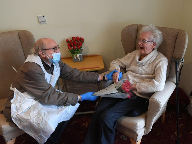 The heartwarming moment Frank and Sheila Whitelow are reunited at Carr Croft Care Home in Meanwood. Picture: Simon Hulme