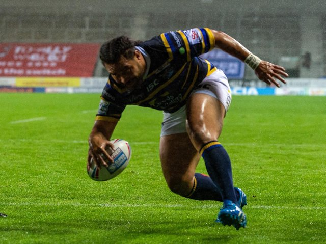 Konrad Hurrell scores for Rhinos at an empty TW Stadium, St Helens, last season. Picture by Bruce Rollinson.
