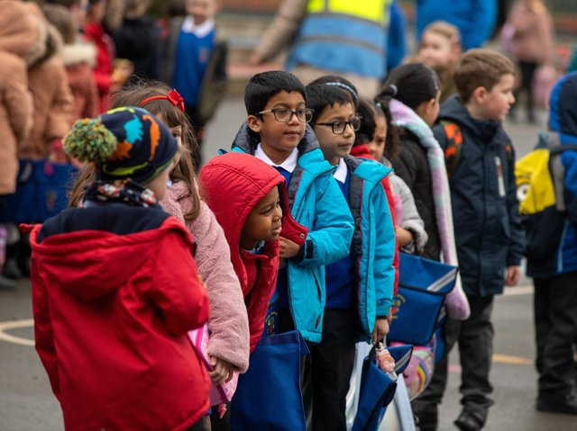 Children were re-united with classmates again as schools returned.