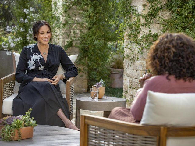The Duchess of Sussex during her interview with Oprah Winfrey.