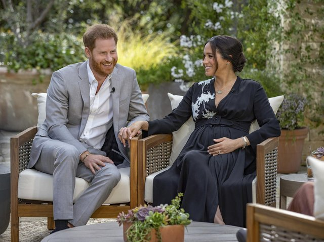 Harry and Meghan during the Oprah Winfrey interview.