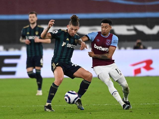 Leeds United's Kalvin Phillips in action at West Ham. Pic: Getty