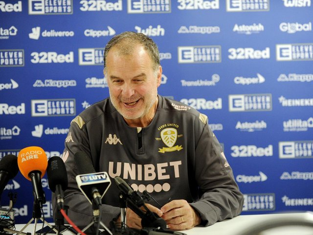 Marcelo Bielsa at a press conference in 2019 (photo: Steve Riding).