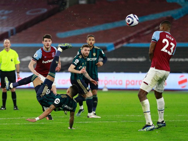 The Whites had their chances and a deflected overhead kick from Raphinha, above, was tipped over the bar by Hammers 'keeper Lukasz Fabianski. Photo by Ian Walton - Pool/Getty Images.