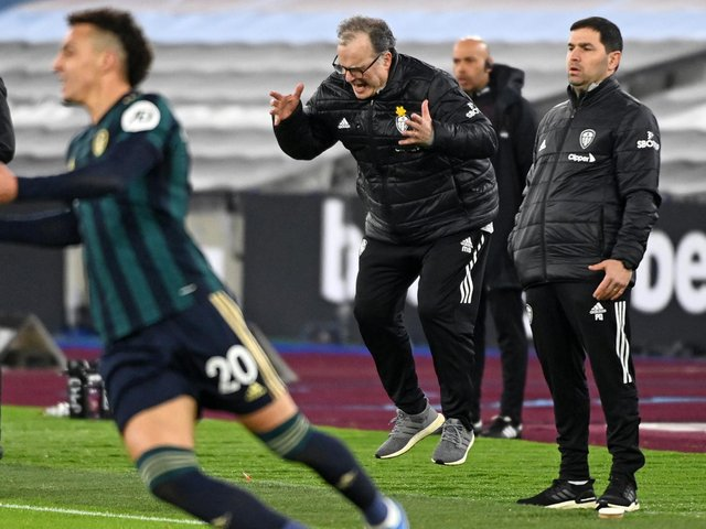 FRUSTRATION: Leeds United head coach Marcelo Bielsa, centre, during Monday night's 2-0 reverse at West Ham United. Photo by ANDY RAIN/POOL/AFP via Getty Images.