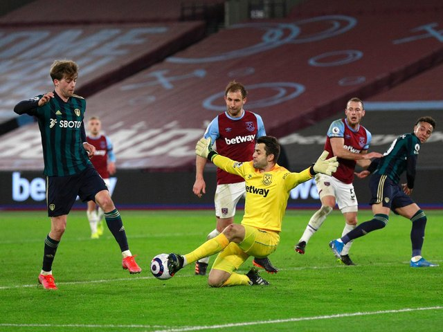 OFF TARGET: Leeds United striker Patrick Bamford, left, squandered two particularly golden opportunities in the second half of Monday night's 2-0 defeat at West Ham. Photo by Ian Walton - Pool/Getty Images.