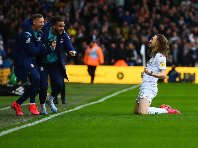 ONE YEAR ON: Since Elland Road last welcomed a crowd which were treated to a stunning goal from Luke Ayling and his equally stunning long locks, above, in Leeds United's victory against Huddersfield Town. Picture by Jonathan Gawthorpe.