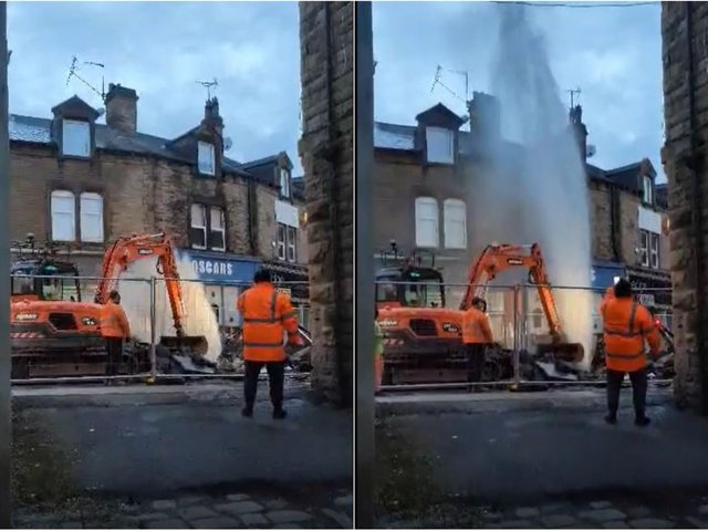 The burst water main on Brunswick Street (photo and video: Martin Jankowskyj)