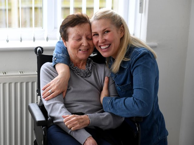 Faye Mitchell with mum Carol, who has dementia. Picture: Simon Hulme