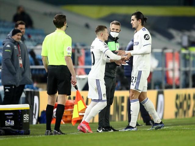 Leeds United defender Pascal Struijk limps off against Aston Villa. Pic: Getty