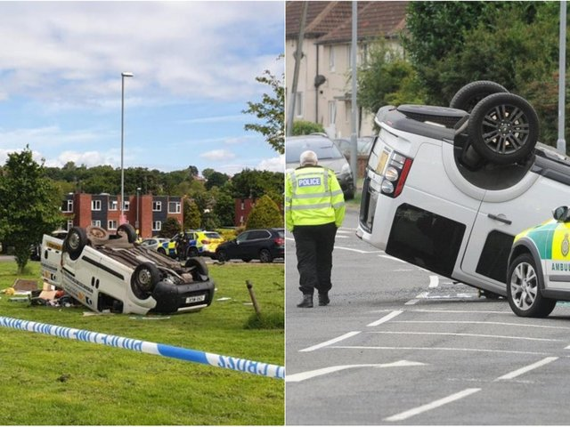 Are Leeds drivers the worst in the country? Left: A crash in Alwoodley which saw a van flip upside down and, right, a smash which left a Land Rover on its roof in Hunslet