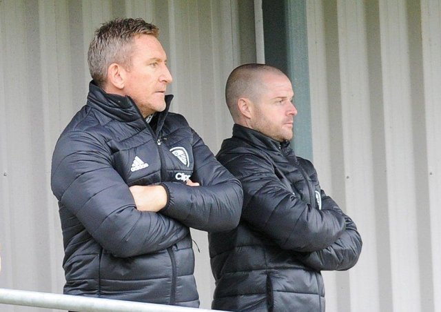 Leeds United Women's head coach Dan O'Hearne and coach Martin Powell are still waiting to find out when the season will resume. A decision is expected next week. Picture: Steve Riding.