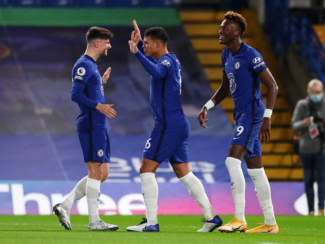 DOUBLE BLOW: Chelsea duo Thiago Silva, centre, and Tammy Abraham, right, will both miss Saturday's Premier League clash against Leeds United at Elland Road. Photo by Catherine Ivill/Getty Images.