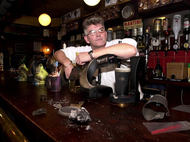 Geoff Franks, landlord of The Monkswood Pub looks at the damage to his bar after a suspected arson attack. PIC: James Hardisty