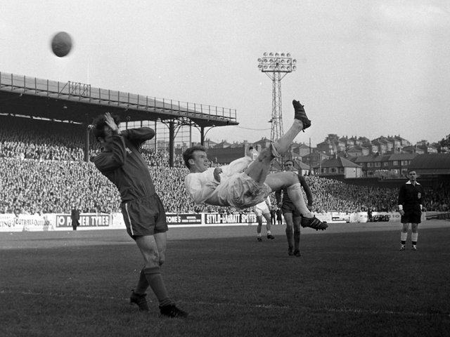 ACROBATICS: From Leeds United's Billy Bremner in the 7-0 thumping of Chelsea of October 1967. Picture by Varleys.