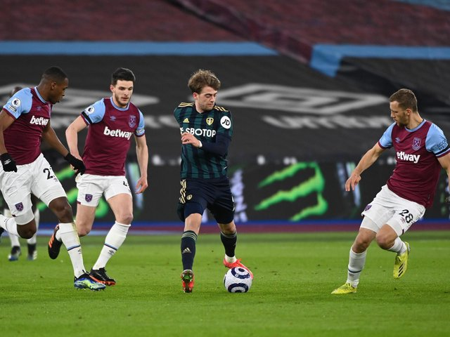 FRUSTRATION: For Leeds United striker Patrick Bamford, centre, in Monday night's defeat at West Ham. Photo by Andy Rain - Pool/Getty Images.