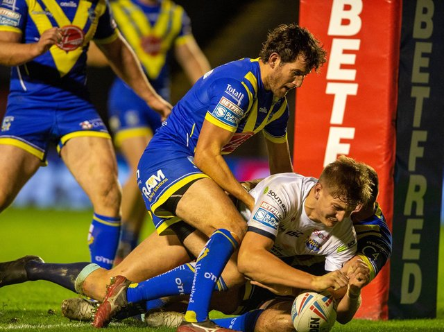 Sam Walters scored his first Super League try for Rhinos at Warrington. Picture by Bruce Rollinson.