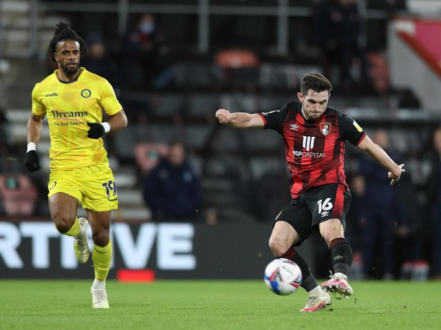 SEASON OVER: For Bournemouth's former Leeds United midfielder Lewis Cook, right. Photo by Naomi Baker/Getty Images.
