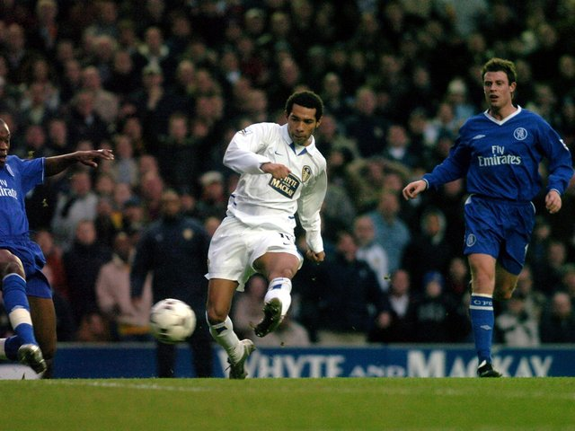 MILESTONE STRIKE: Jermaine Pennant scores what remains Leeds United's last league goal against Chelsea at Elland Road back in December 2003. Picture by James Hardisty.