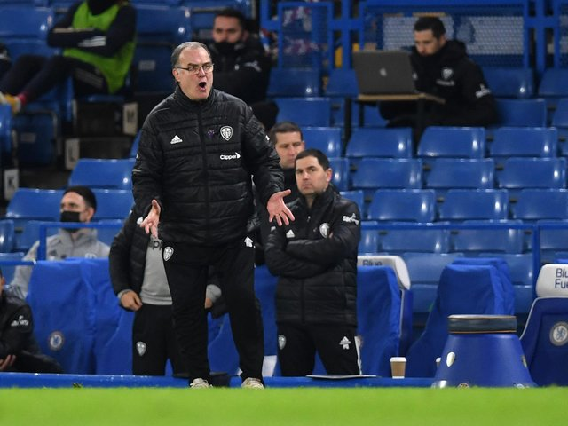 MISSION: For Leeds United head coach Marcelo Bielsa, pictured during December's 3-1 defeat at Chelsea. Photo by Daniel Leal-Olivas - Pool/Getty Images.