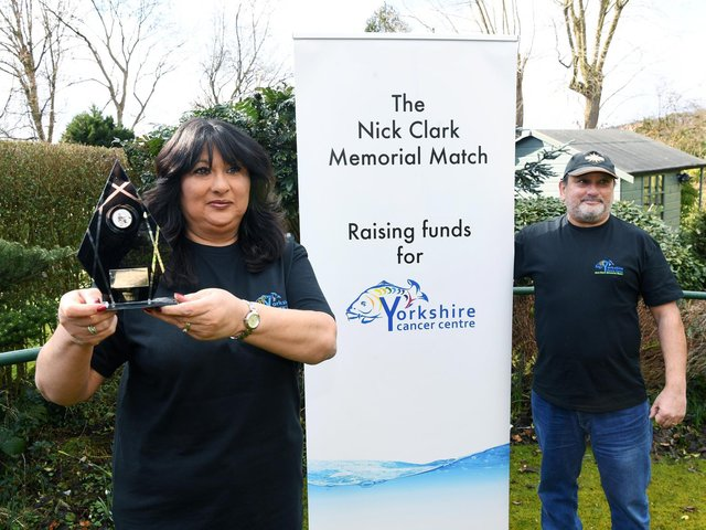Rose Clark-Moss and her brother Steve Akal, who organise an annual charity fishing match in memory of Rose's late husband Nick Clark.