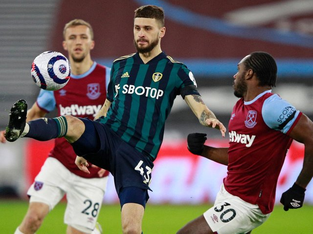 BUSY: Leeds United's Polish international midfielder Mateusz Klich during Monday night's 2-0 reverse at West Ham. Photo by IAN WALTON/POOL/AFP via Getty Images.