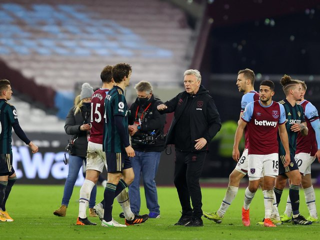 'TOO EASY': Leeds United dominated large parts of Monday night's clash at home to West Ham, above, but suffered a 2-0 reverse as the Whites again conceded from a set piece. Photo by Julian Finney/Getty Images.