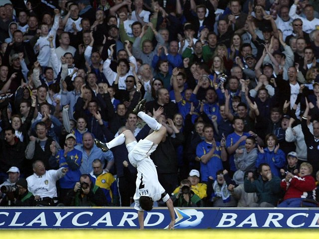Robbie Keane celebrates scoring for Leeds United against Sunderland at Elland Road in September 2002.