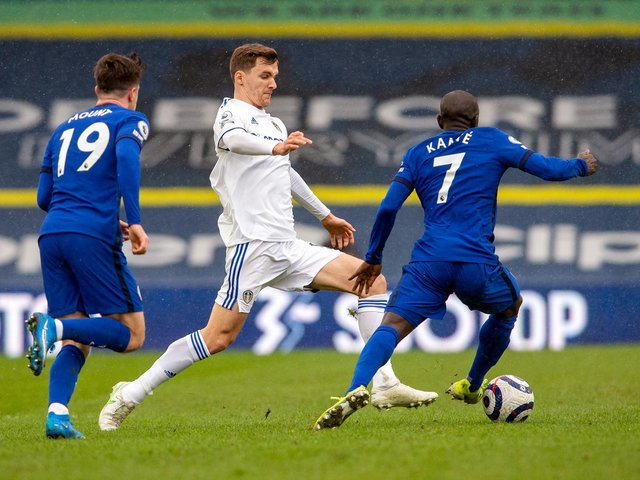 BLUES BATTLE: Leeds United's Diego Llorente challenges Chelsea's N'Golo Kante. Picture by Bruce Rollinson.