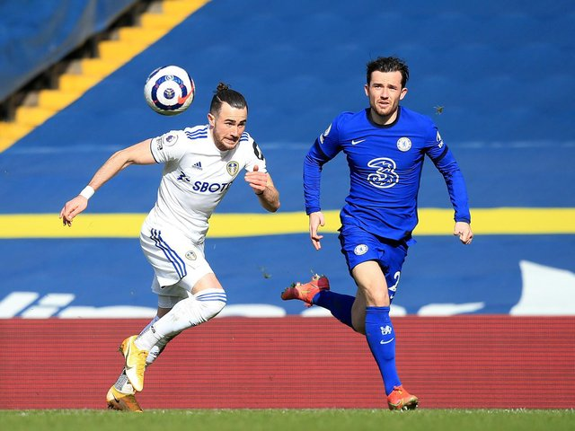 STALEMATE: Chelsea left back Ben Chilwell, right, chases Leeds United winger Jack Harrison in Saturday's goalless draw at Elland Road. Photo by Lindsey Parnaby - Pool/Getty Images.