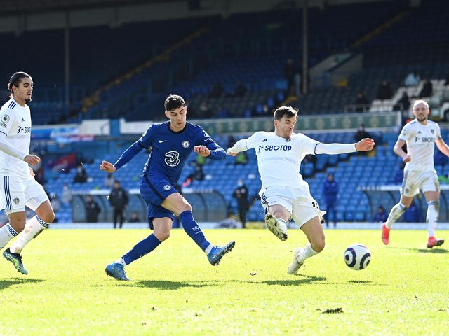 THUMBS UP: For a 13th Leeds United centre-back pairing of the season between Pascal Struijk, left, and Diego Llorente, second from right, as the duo look to shut out Chelsea's Kai Havertz. Photo by Laurence Griffiths/Getty Images.