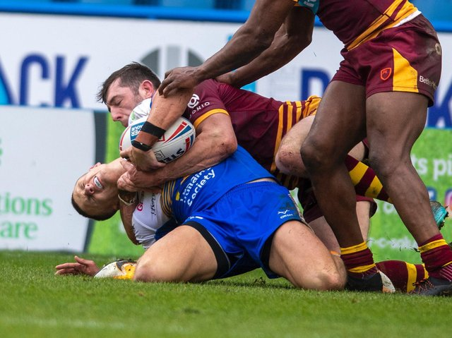 Ash Handley was hurt after falling awkwardly following a high tackle. Picture by Tony Johnson.