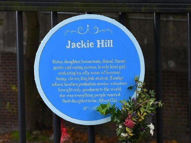 The memorial plaque to Jackie Hill, which was located at Alma Road in Leeds.