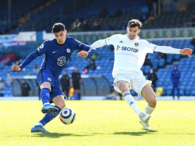 KEPT OUT: Chelsea forward Kai Havertz, left, pictured being closed down by Leeds United's Diego Llorente in Saturday's goalless draw at Elland Road. Photo by Laurence Griffiths/Getty Images.