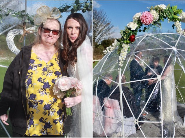 Lisa Bennett got married in a see-through igloo so her children could watch from outside (photo: Kate Melia Photography).