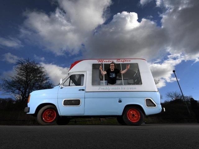 Howard Bradley from the LS14 Trust in the vintage ice-cream van in Seacroft.
