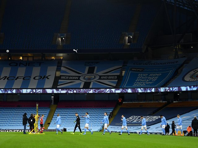 IMMINENT DATE: Leeds United will face Manchester City at the Etihad Stadium, above, on Saturday, April 10 for a 12.30pm kick-off live on BT Sport. Photo by GARETH COPLEY/POOL/AFP via Getty Images.