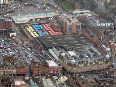 Leeds Kirkgate Market from the air.