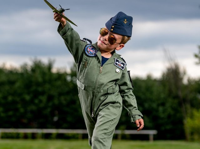 Jacob Newson is a seven-year-old RAF-loving boy from Leeds (photo: SWNS)